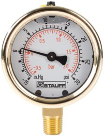 Stauff Hydraulic Diagtronics--Diagnostic Pressure Gauges Type SPG, WPG Series Specifications; Options; Standard Stock Pressure Ranges; Ordering Code Dimensions Adjustable Gauge Fitting EMV