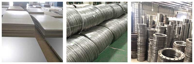 Raw material of metal hose stainless steel 304,316,321 plate, steel wire, flange.